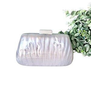 Bolsa Clutch Acrílica Perolada Branca