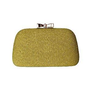 Bolsa Clutch Trapézio Verde Clara Fecho Lacinho Dourado