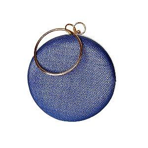 Bolsa Clutch Redonda Azul Alça Metal