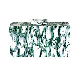 Bolsa Clutch Acrílica Mix Verde e Branco