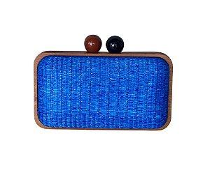 Bolsa Clutch Madeira e Ráffia Azul