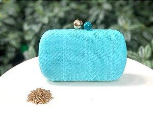 Bolsa Clutch Ráffia Azul Turquesa fecho Bolinha