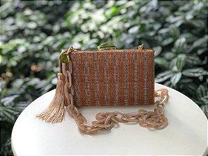 Bolsa Clutch Textura Caramelo