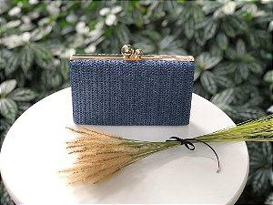 Bolsa Clutch Azul Marinho Ráffia