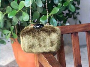 Bolsa Clutch em Pêlo Verde Musgo