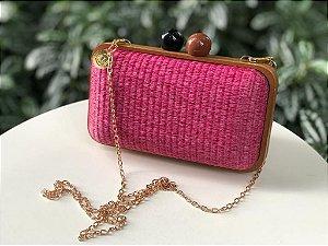 Bolsa Clutch Madeira e Ráffia Rosa Pink