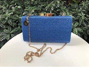 Bolsa Clutch Ráffia Azul Celeste