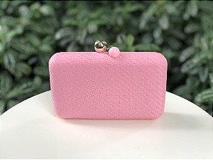 Bolsa Clutch Ráffia Quadrada Rosa Claro