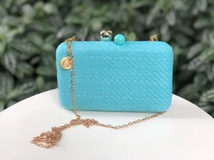 Bolsa Clutch Ráffia Quadrada Azul Turquesa