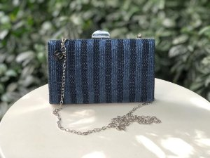 Bolsa Clutch Textura Azul Marinho