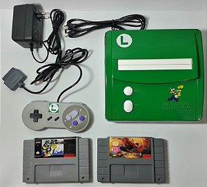 Super Nintendo Baby Personalizado Luigi + 2 jogos - SNES