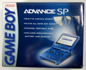 Game Boy Advance SP na caixa - GBA