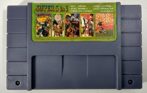 Super 5 in 1 (Sunset Riders - ISS Deluxe - Contra e mais) - SNES