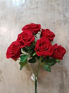 Buquê de rosas vermelhas de veludo C/7 cabeças 45CM
