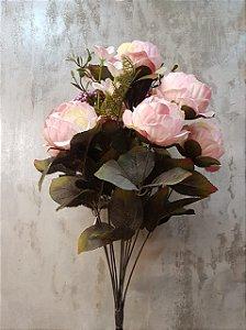 Buquê de peônias com hortências(rosa) com 7 cabeças 50CM
