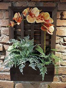 Quadro com floreira de parede decorado 60x40cm