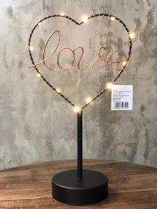 LUMINARIA 40749 METAL LOVE HEART LED PRETO 16,5X9,5X29,5CM