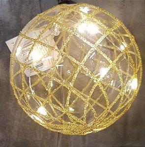 BOLA DE VIDRO 1351210 C/LED ESPIRAL OUR 10CM