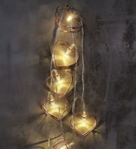 CORDAO  LED DECOR CORACAO METAL ROSE GOLD 230CM / 10 LEDS 0193