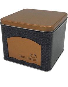 LATA PORTA CAPSULAS METAL COFFEE COBRE 15X12,5CM