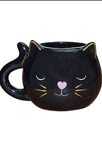 DECORAÇÃO DE PORCELANA CAT BLACK 13,5X11X9CM