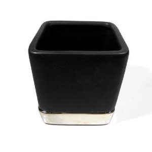 Vaso Quadrado 10CM de Cerâmica preto com prato- Enjoy