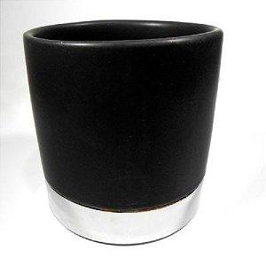 Vaso Redondo 10CM de Cerâmica preto com prato- Enjoy
