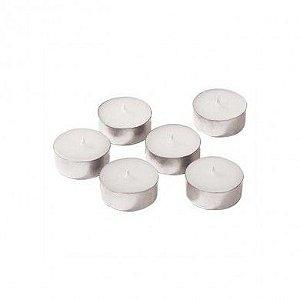 Kit velas brancas com base em alumínio 6 peças