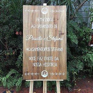 Plaquinha painel de madeira para cavalete para casamentos e festas