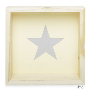 Nicho Quadrado com Estrela pintada para decoração de quarto infantil