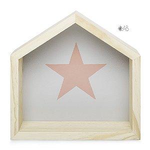 Nicho Casinha tamanho M com Estrela pintada para decoração de quarto infantil