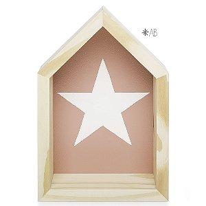 Nicho de Casinha tamanho P com Estrela pintada para decoração de quarto infantil