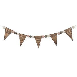Bandeirola de madeira pinus escurecido com bolinhas de feltro