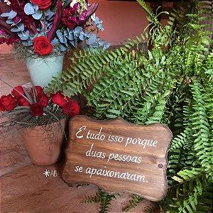 Plaquinha de mesa 'Toscana' para casamentos e festas