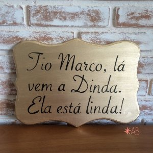 """Placa painel """"toscana"""" dourada para casamentos"""