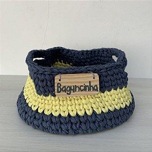 Cesto de Crochê P - azul marinho e amarelo