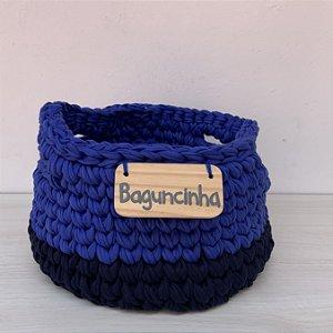 Cesto de Crochê P - azul marinho e azul celeste