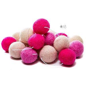 Guirlanda de Bolinhas de Feltro Combinação Rosa para decorar quartos e festas infantis