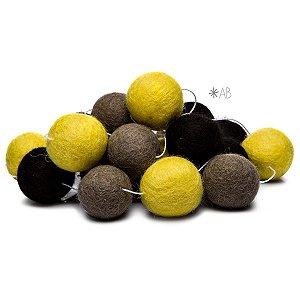 Guirlanda de Bolinhas de Feltro Combinação Amarelo, Cinza e Preto