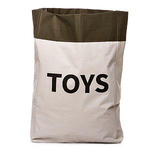 Sacão TOYS GRANDE na cor verde militar para armazenar brinquedos e decorar quartos infantis