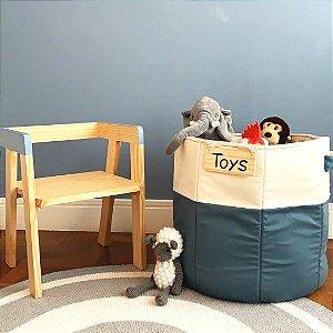Cesto de brinquedos azul