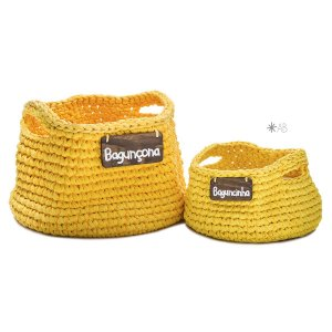 Cesto de crochê amarelo