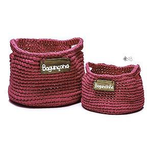 Cesto de crochet pink