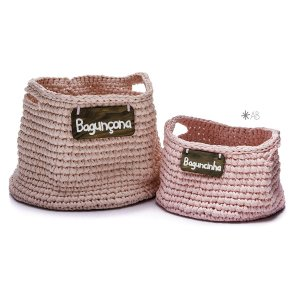 Cesto de crochet rosa