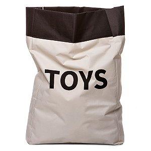 Sacão TOYS GRANDE na cor preta para armazenar brinquedos e decorar quartos infantis