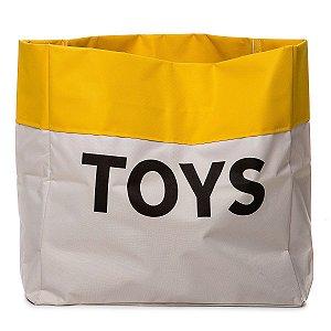 Sacão TOYS PEQUENO na cor amarelo para armazenar brinquedos e decorar quartos infantis