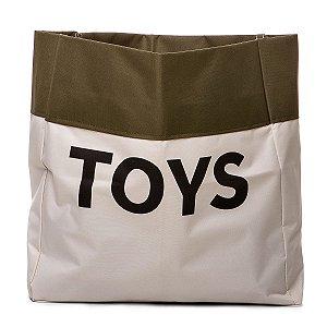 Sacão TOYS PEQUENO na cor verde militar para armazenar brinquedos e decorar quartos infantis