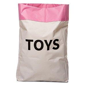 Sacão TOYS GRANDE na cor rosa claro para armazenar brinquedos e decorar quartos infantis