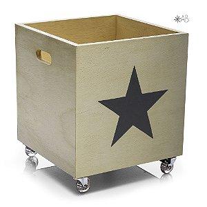Caixote de madeira para armazenar brinquedos