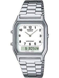 7a474995b21 Relógio Casio Vintage Digital Analógico - AQ-230A-7BMQ - Prata